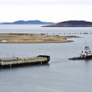 McKeil barge and tug are transporting tanks to the Vale project in Long Harbour, Newfoundland, Canada