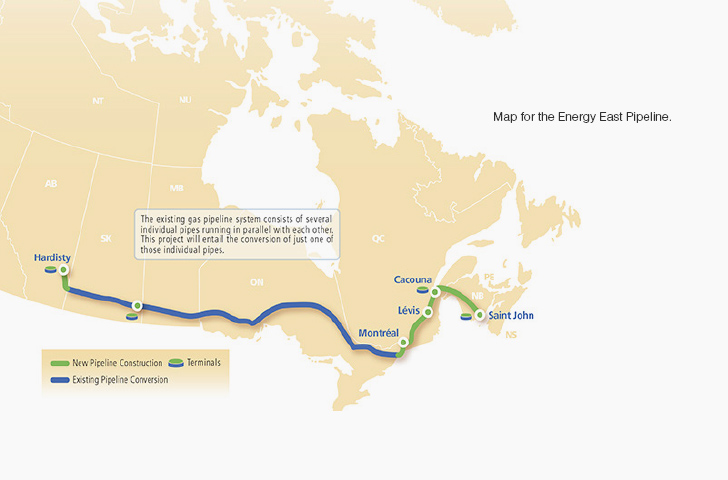 Map for the Energy East Pipeline.