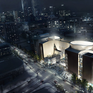 NMC Night Aerial Wide Angle. Image by Allied Works Architecture