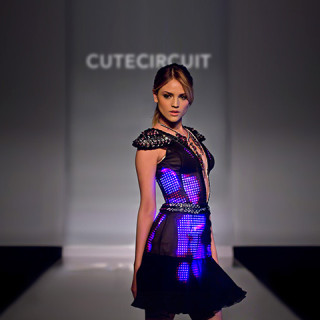 CuteCircuit The Eiza Dress Pink and Black Haute Couture